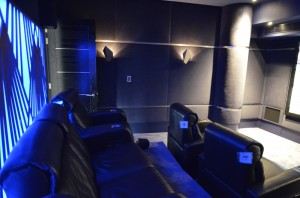 A feature back panel and tiered seating