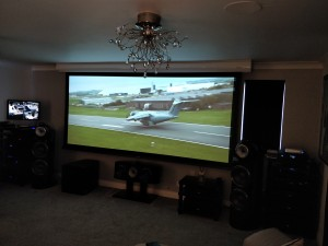 Curved TV with Cinemascope projection screen