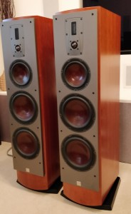 Mentor 8 loudspeakers in Cherry 3q