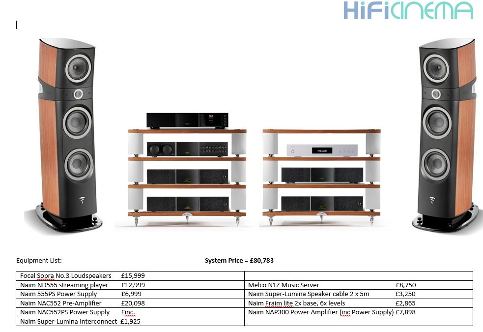 Bentley Event Naim equipment List