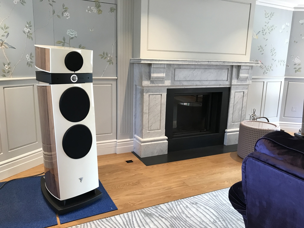 Carpet tiles used to get the speakers in the correct position without damaging the floor