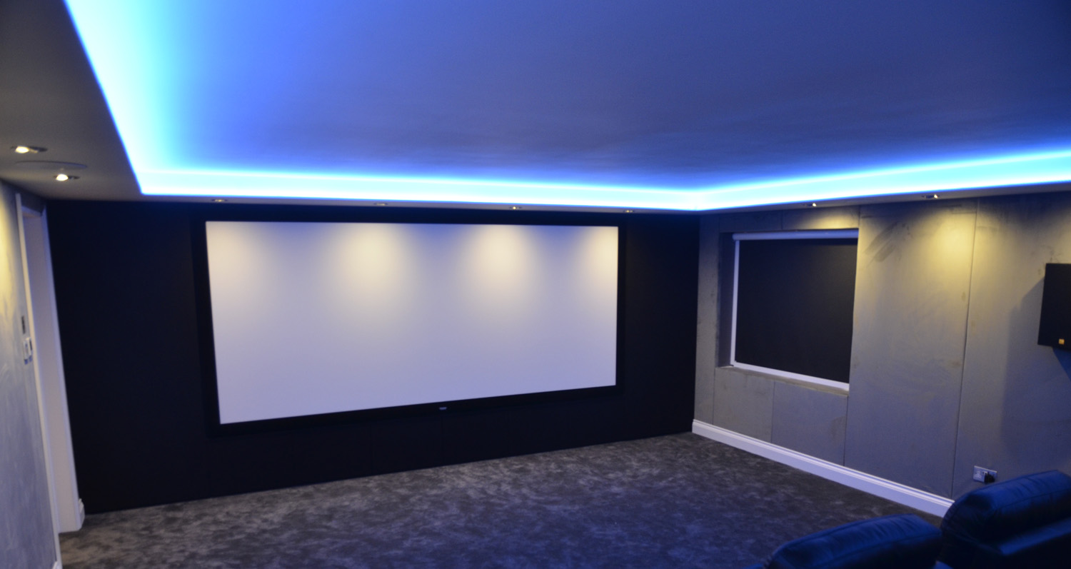 contemporary home cinema room