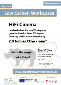 We are a low carbon workspace!